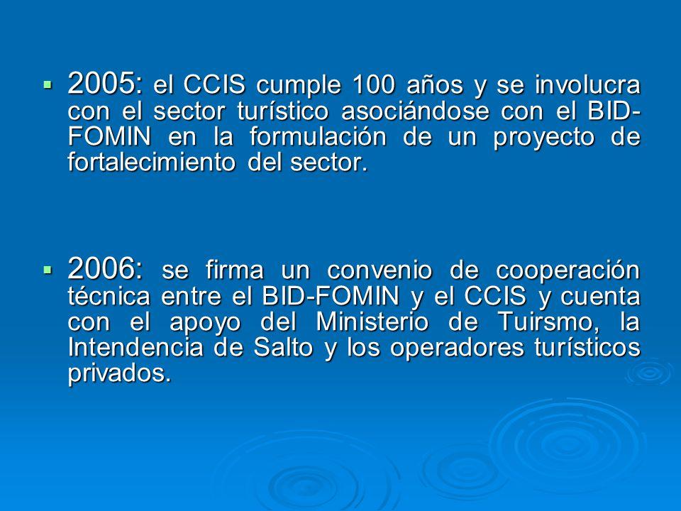 2005: el CCIS cumple 100 años y se involucra con el sector turístico asociándose con el BID- FOMIN en la formulación de un proyecto de fortalecimiento