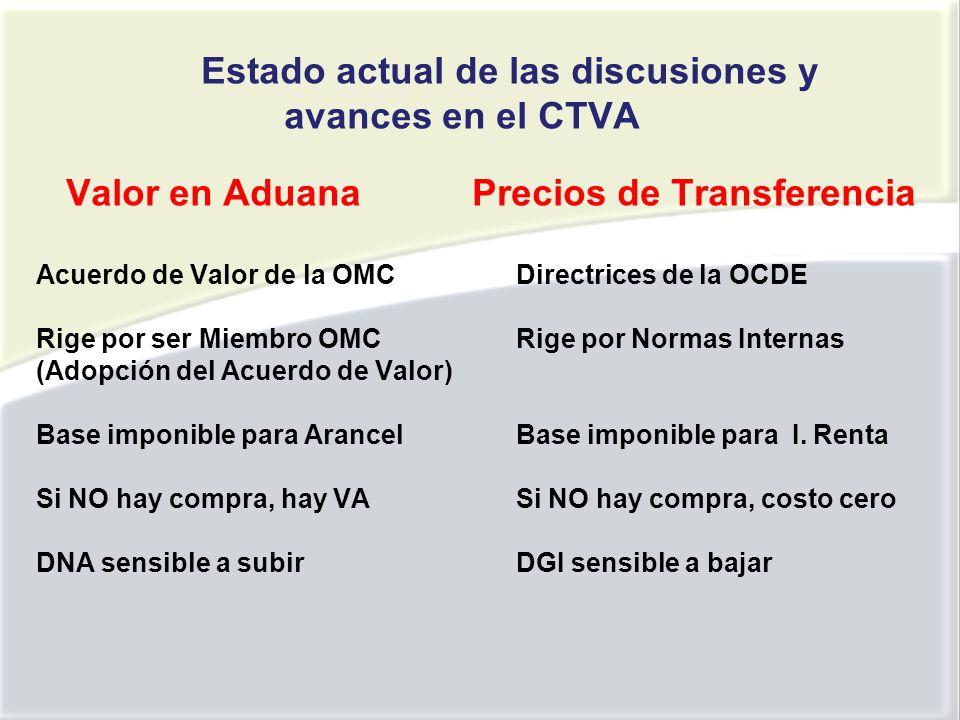 Estado actual de las discusiones y avances en el CTVA Valor en Aduana Precios de Transferencia Acuerdo de Valor de la OMCDirectrices de la OCDE Rige por ser Miembro OMC Rige por Normas Internas (Adopción del Acuerdo de Valor) Base imponible para ArancelBase imponible para I.