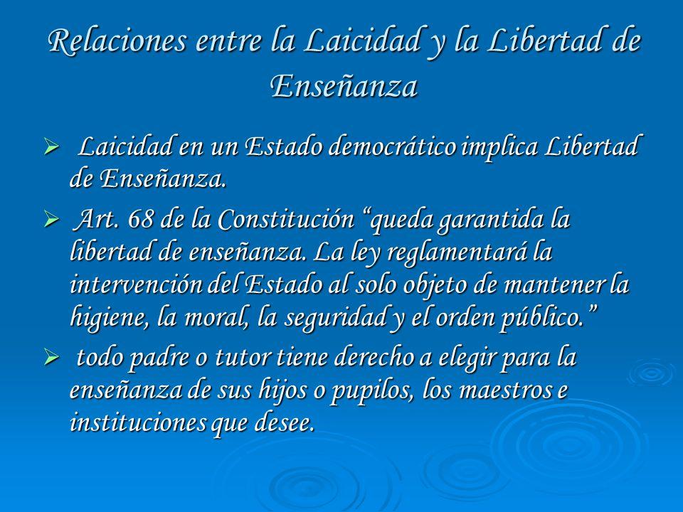Relaciones entre la Laicidad y la Libertad de Enseñanza Laicidad en un Estado democrático implica Libertad de Enseñanza.