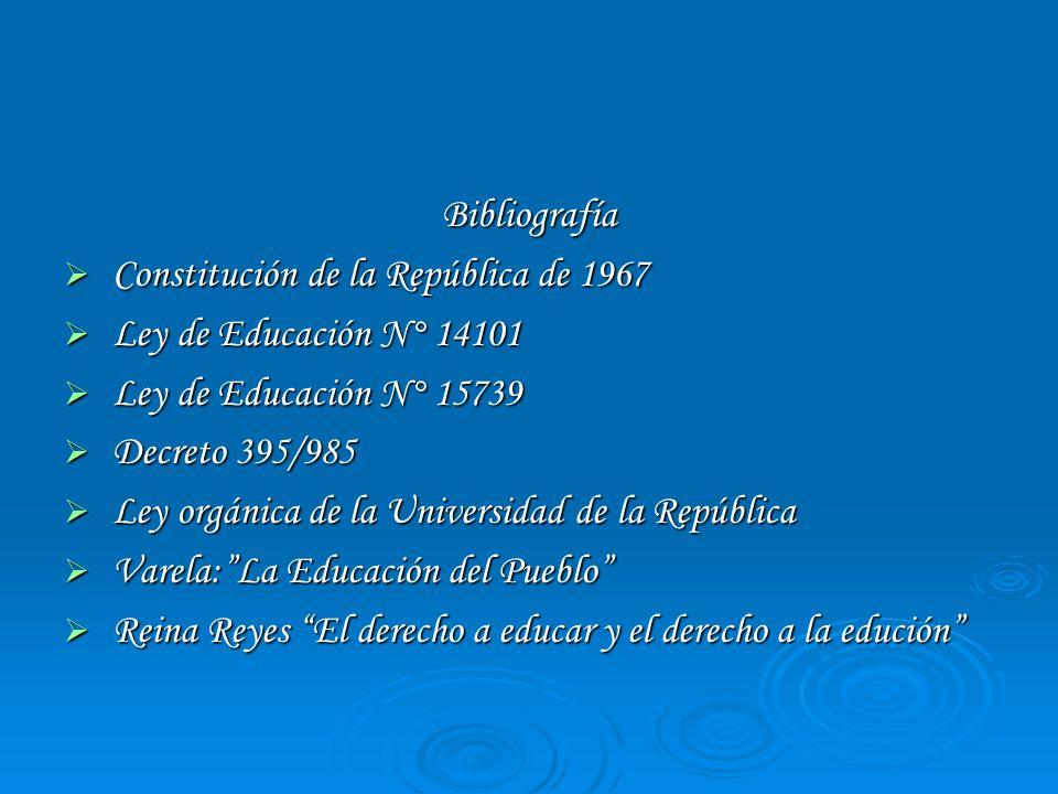 Bibliografía Constitución de la República de 1967 Constitución de la República de 1967 Ley de Educación N° 14101 Ley de Educación N° 14101 Ley de Educ