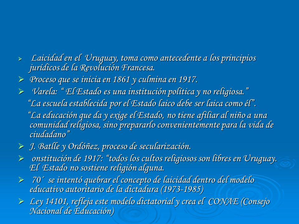Laicidad en el Uruguay, toma como antecedente a los principios jurídicos de la Revolución Francesa. Laicidad en el Uruguay, toma como antecedente a lo