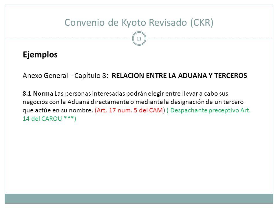 Convenio de Kyoto Revisado (CKR) 11 Ejemplos Anexo General - Capítulo 8: RELACION ENTRE LA ADUANA Y TERCEROS 8.1 Norma Las personas interesadas podrán