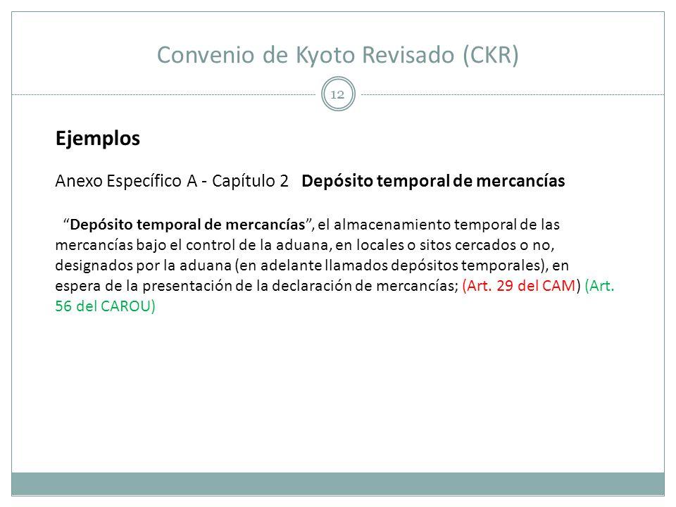 Convenio de Kyoto Revisado (CKR) 12 Ejemplos Anexo Específico A - Capítulo 2 Depósito temporal de mercancías Depósito temporal de mercancías, el almac