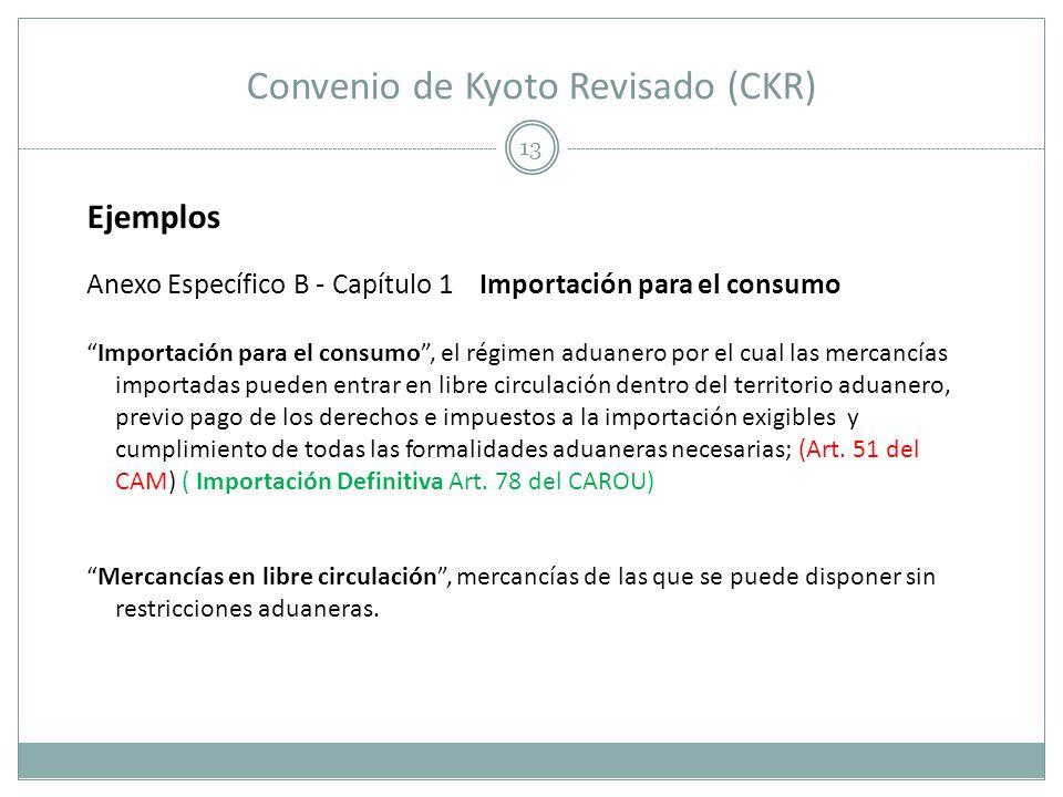 Convenio de Kyoto Revisado (CKR) 13 Ejemplos Anexo Específico B - Capítulo 1 Importación para el consumo Importación para el consumo, el régimen aduan