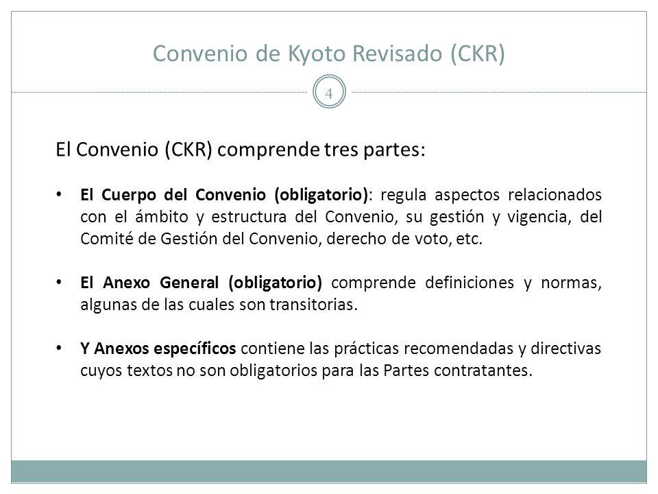 Convenio de Kyoto Revisado (CKR) 4 El Convenio (CKR) comprende tres partes: El Cuerpo del Convenio (obligatorio): regula aspectos relacionados con el