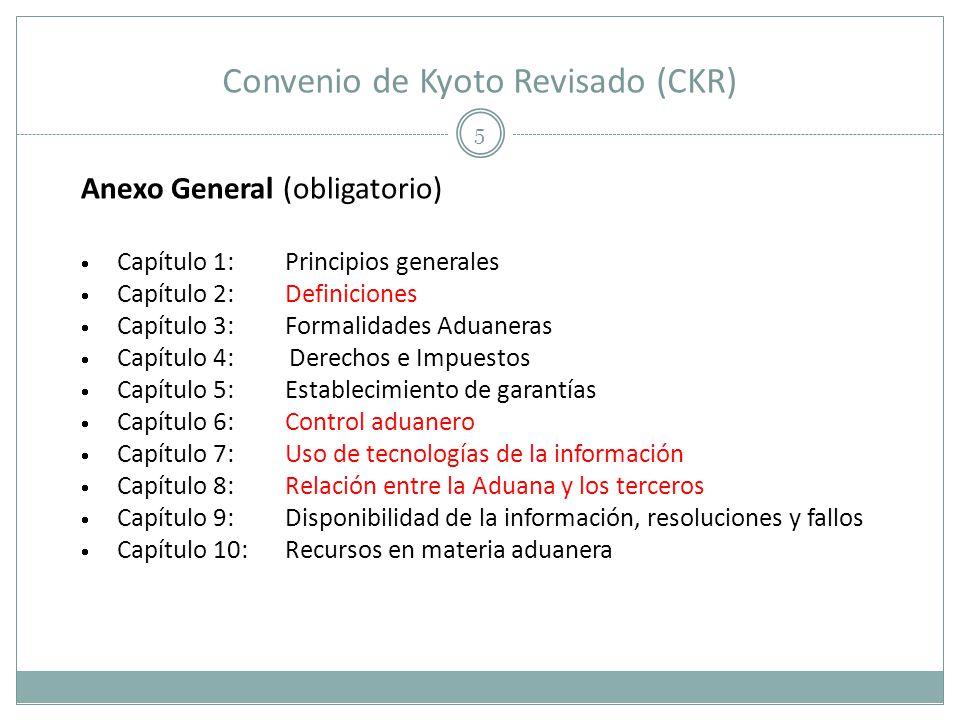 Convenio de Kyoto Revisado (CKR) 5 Anexo General (obligatorio) Capítulo 1: Principios generales Capítulo 2:Definiciones Capítulo 3:Formalidades Aduane