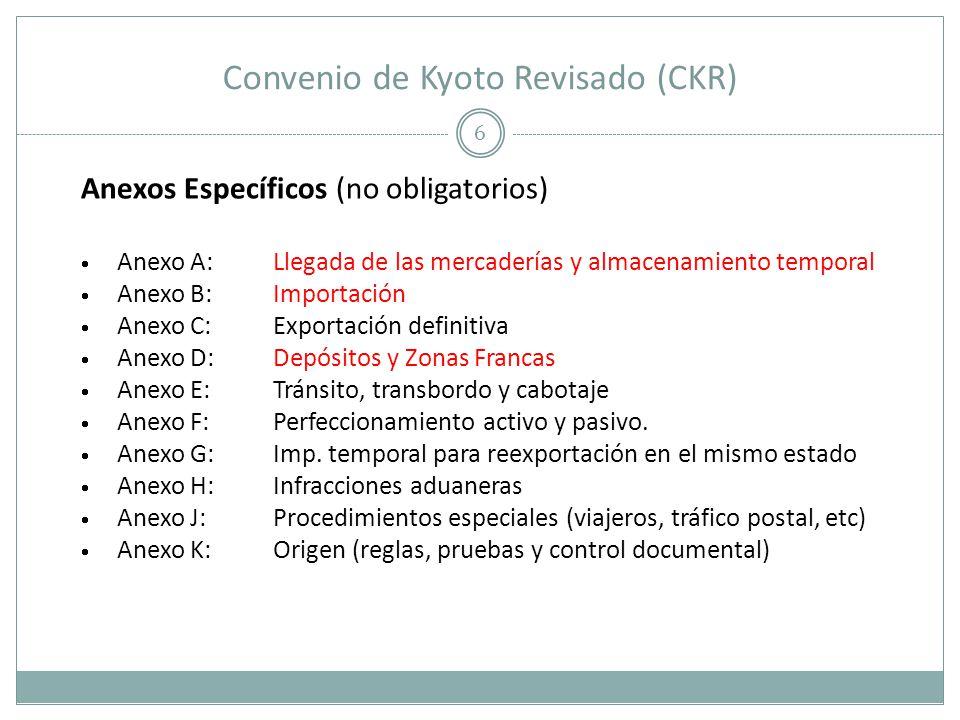 Convenio de Kyoto Revisado (CKR) 6 Anexos Específicos (no obligatorios) Anexo A:Llegada de las mercaderías y almacenamiento temporal Anexo B:Importaci