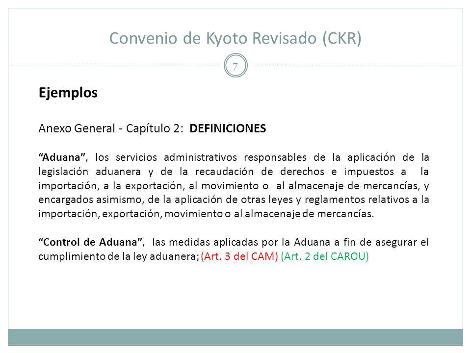 Convenio de Kyoto Revisado (CKR) 8 Ejemplos Anexo General - Capítulo 2: DEFINICIONES Declarante, toda persona que realiza una declaración de mercancías o en cuyo nombre se realiza la declaración mencionada; (Art.