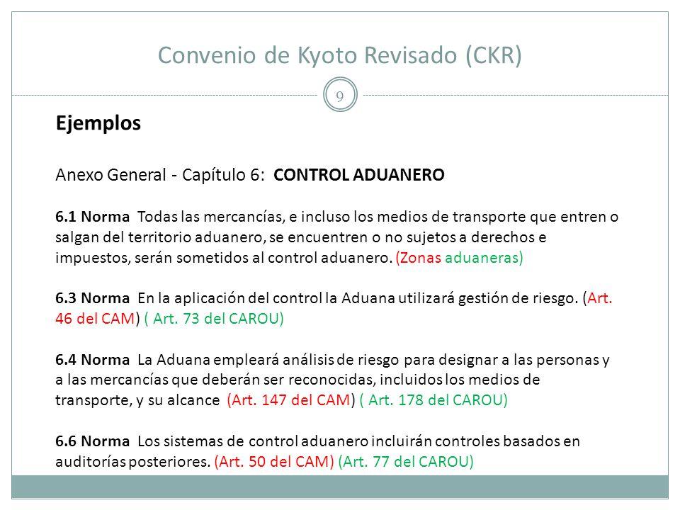 Convenio de Kyoto Revisado (CKR) 9 Ejemplos Anexo General - Capítulo 6: CONTROL ADUANERO 6.1 Norma Todas las mercancías, e incluso los medios de trans