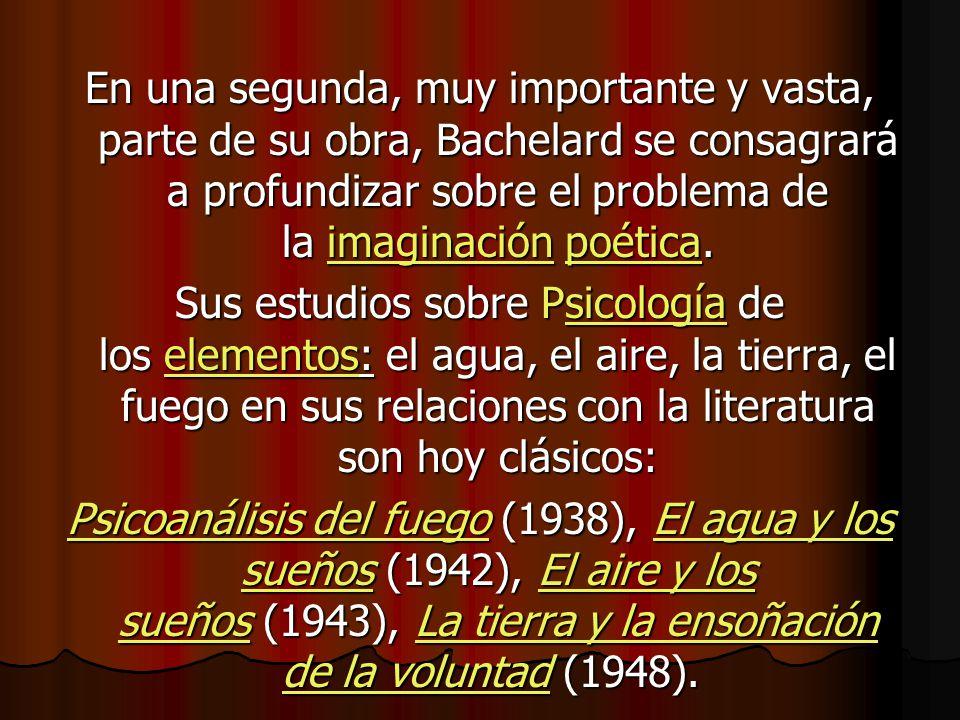 En una segunda, muy importante y vasta, parte de su obra, Bachelard se consagrará a profundizar sobre el problema de la imaginación poética. imaginaci
