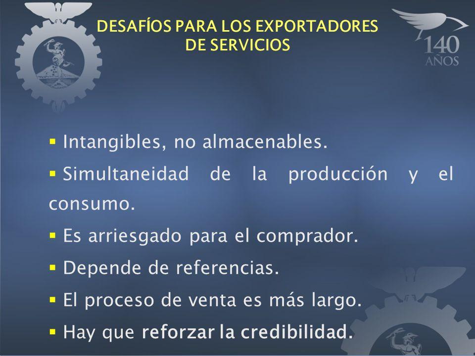 DESAF Í OS PARA LOS EXPORTADORES DE SERVICIOS Intangibles, no almacenables. Simultaneidad de la producción y el consumo. Es arriesgado para el comprad