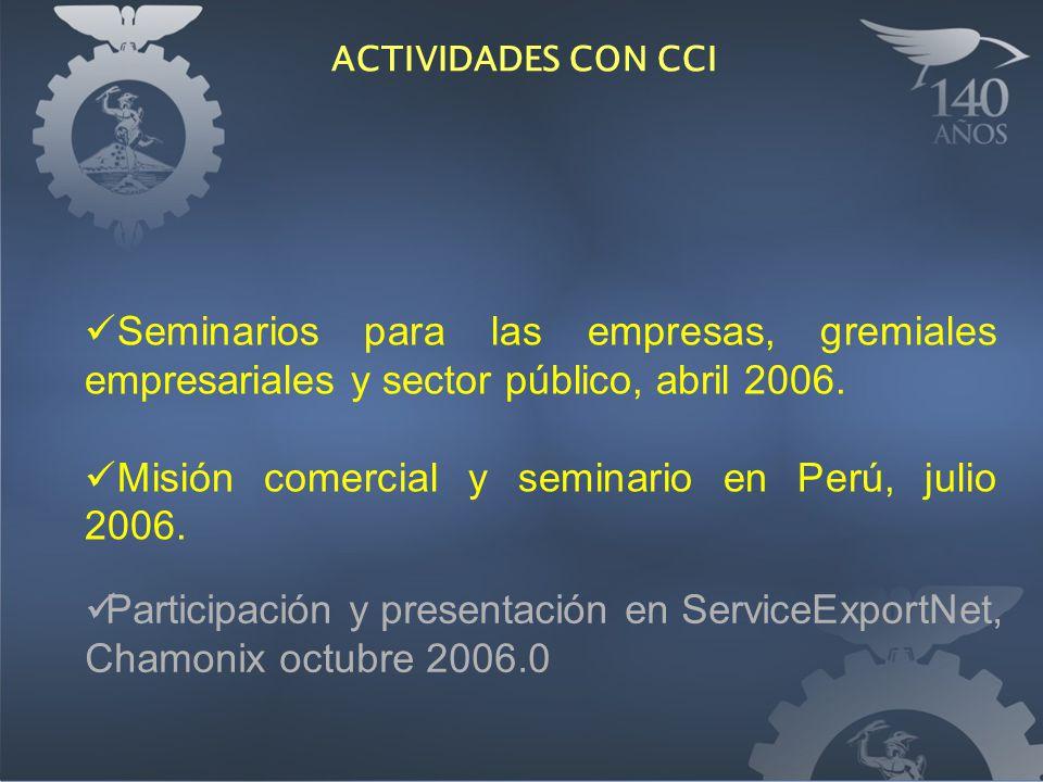 Seminarios para las empresas, gremiales empresariales y sector público, abril 2006. Misión comercial y seminario en Perú, julio 2006. ACTIVIDADES CON