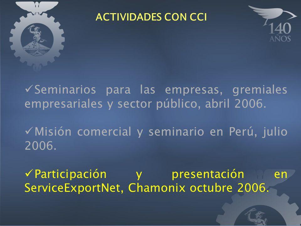Seminarios para las empresas, gremiales empresariales y sector público, abril 2006. Misión comercial y seminario en Perú, julio 2006. Participación y