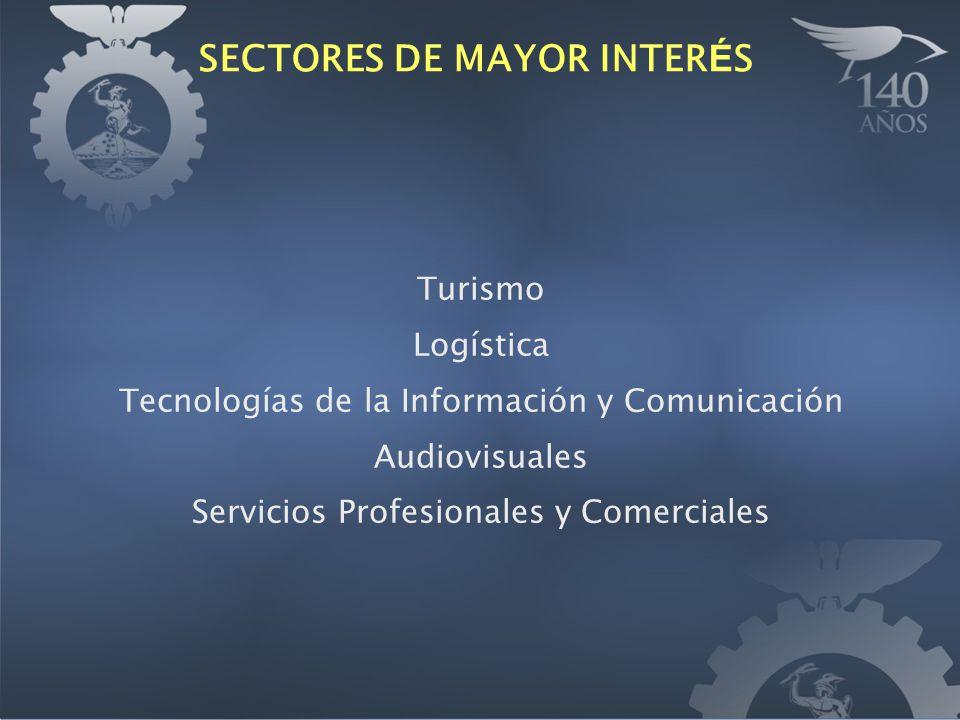 SECTORES DE MAYOR INTER É S Turismo Logística Tecnologías de la Información y Comunicación Audiovisuales Servicios Profesionales y Comerciales
