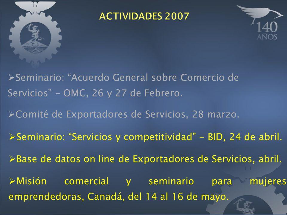 Seminario: Servicios y competitividad - BID, 24 de abril. Base de datos on line de Exportadores de Servicios, abril. Misión comercial y seminario para