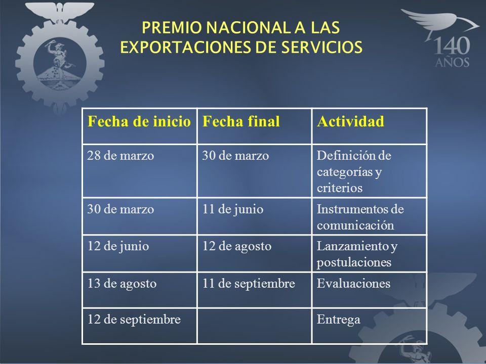 PREMIO NACIONAL A LAS EXPORTACIONES DE SERVICIOS Fecha de inicioFecha finalActividad 28 de marzo30 de marzoDefinición de categorías y criterios 30 de