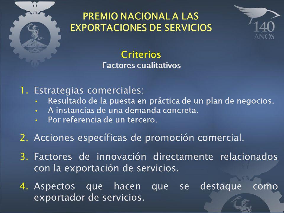 Criterios Factores cualitativos 1.Estrategias comerciales: Resultado de la puesta en práctica de un plan de negocios. A instancias de una demanda conc