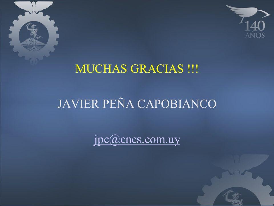 MUCHAS GRACIAS !!! JAVIER PEÑA CAPOBIANCO jpc@cncs.com.uy