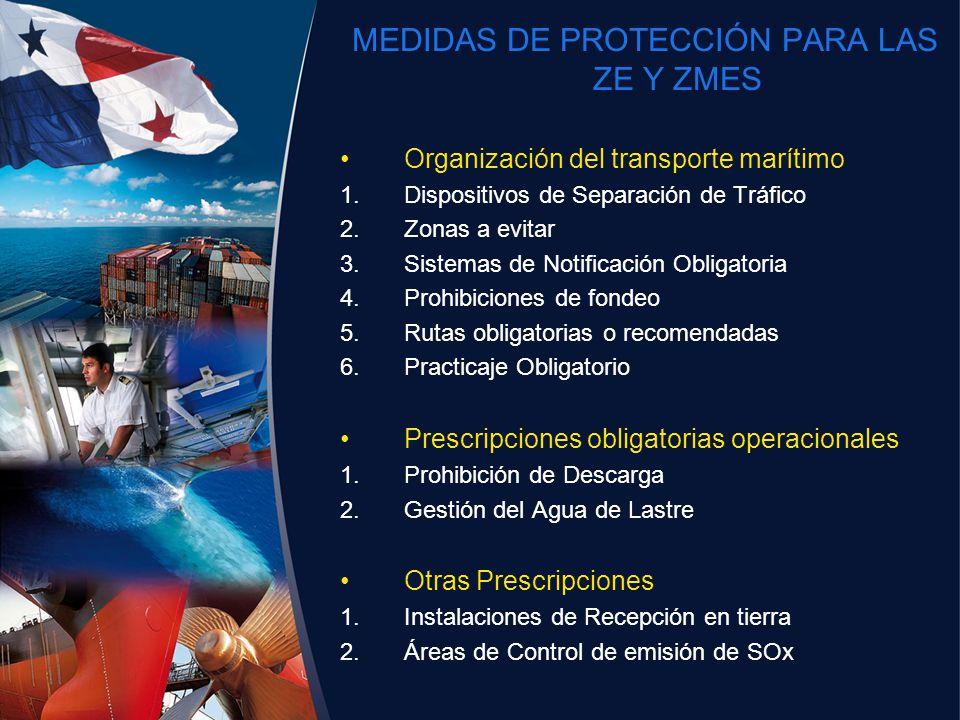 MEDIDAS DE PROTECCIÓN PARA LAS ZE Y ZMES Organización del transporte marítimo 1.Dispositivos de Separación de Tráfico 2.Zonas a evitar 3.Sistemas de N
