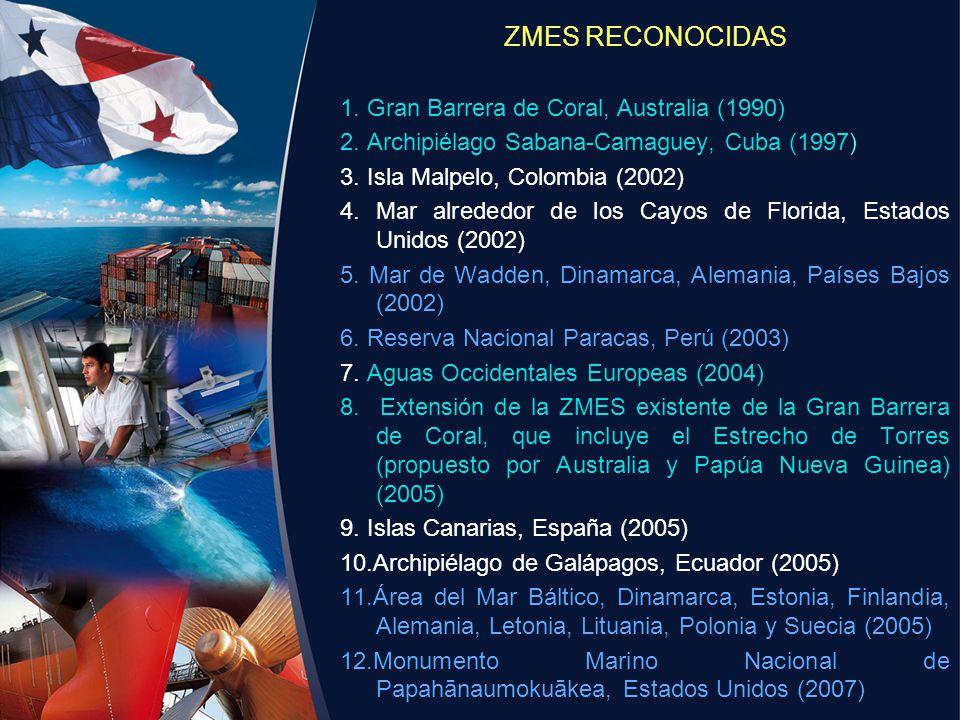ZMES RECONOCIDAS 1. Gran Barrera de Coral, Australia (1990) 2. Archipiélago Sabana-Camaguey, Cuba (1997) 3. Isla Malpelo, Colombia (2002) 4. Mar alred