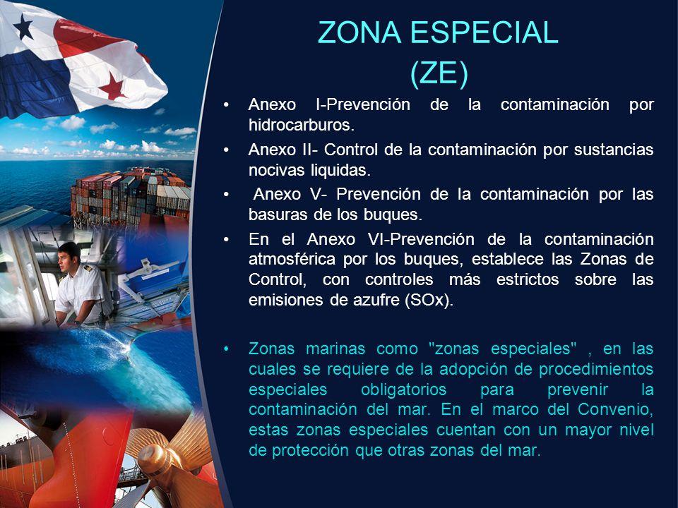 ZONA ESPECIAL (ZE) Anexo I-Prevención de la contaminación por hidrocarburos. Anexo II- Control de la contaminación por sustancias nocivas liquidas. An