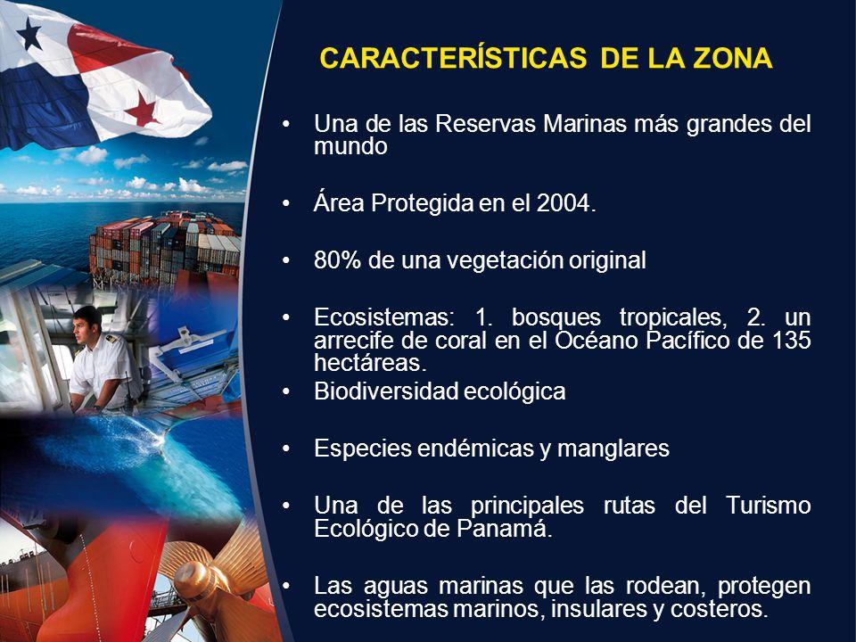 CARACTERÍSTICAS DE LA ZONA Una de las Reservas Marinas más grandes del mundo Área Protegida en el 2004. 80% de una vegetación original Ecosistemas: 1.