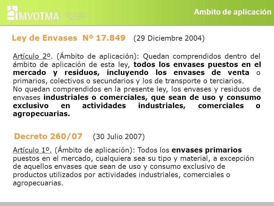 Ambito de aplicación Ley de Envases Nº 17.849 (29 Diciembre 2004) Artículo 2º. (Ámbito de aplicación): Quedan comprendidos dentro del ámbito de aplica