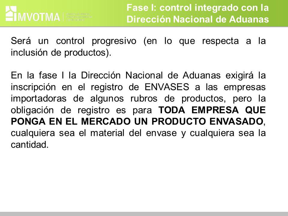 Fase I: control integrado con la Dirección Nacional de Aduanas Será un control progresivo (en lo que respecta a la inclusión de productos). En la fase