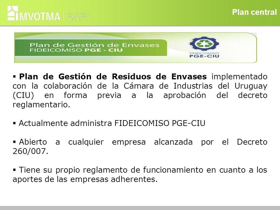 Plan central Plan de Gestión de Residuos de Envases implementado con la colaboración de la Cámara de Industrias del Uruguay (CIU) en forma previa a la