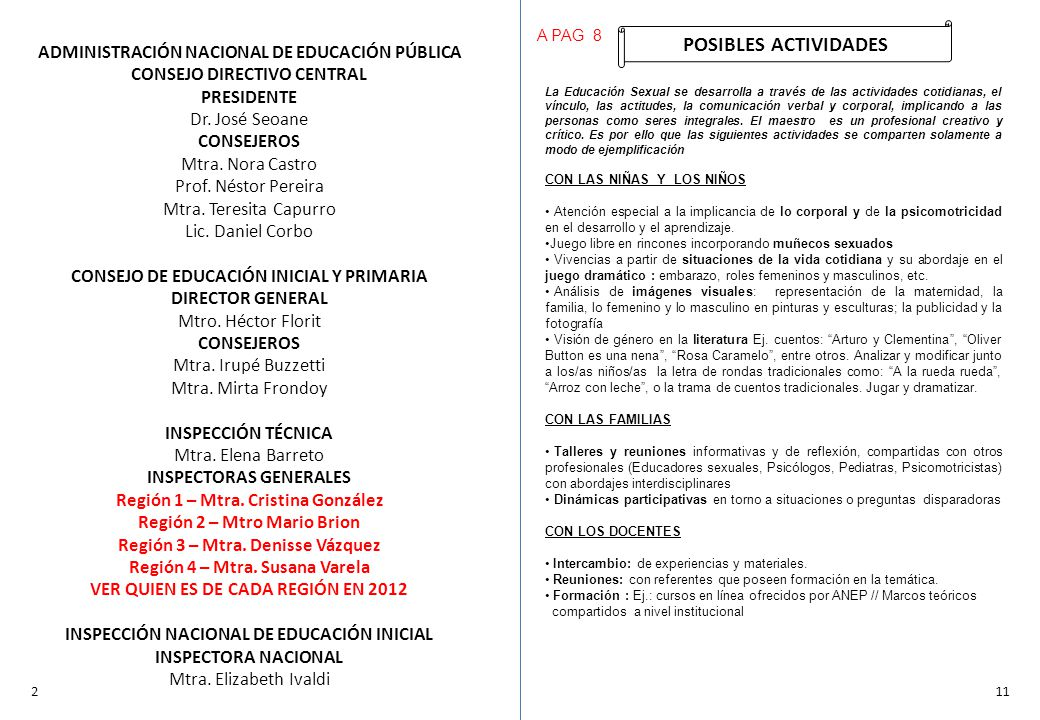 ADMINISTRACIÓN NACIONAL DE EDUCACIÓN PÚBLICA CONSEJO DIRECTIVO CENTRAL PRESIDENTE Dr. José Seoane CONSEJEROS Mtra. Nora Castro Prof. Néstor Pereira Mt