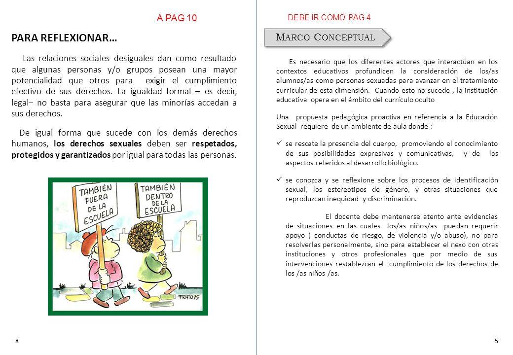 58 M ARCO C ONCEPTUAL Es necesario que los diferentes actores que interactúan en los contextos educativos profundicen la consideración de los/as alumn
