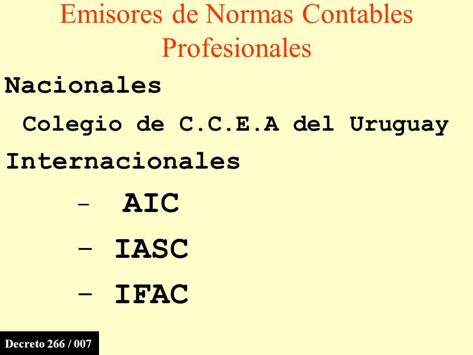 Emisores de Normas Contables Profesionales Nacionales Colegio de C.C.E.A del Uruguay Internacionales - AIC - IASC - IFAC Decreto 266 / 007