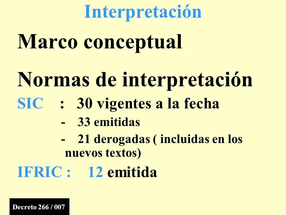 Marco conceptual Normas de interpretación SIC : 30 vigentes a la fecha - 33 emitidas - 21 derogadas ( incluidas en los nuevos textos) IFRIC : 12 emitida Interpretación Decreto 266 / 007