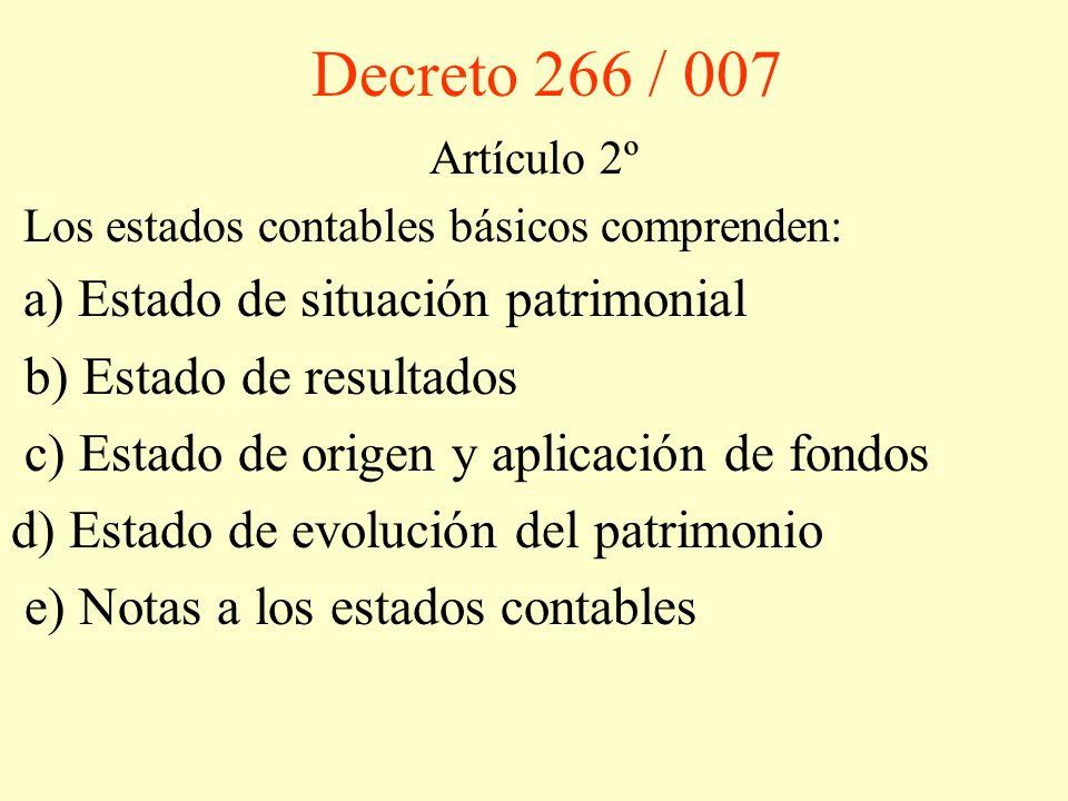 Decreto 266 / 007 Artículo 2º Los estados contables básicos comprenden: a) Estado de situación patrimonial b) Estado de resultados c) Estado de origen y aplicación de fondos d) Estado de evolución del patrimonio e) Notas a los estados contables