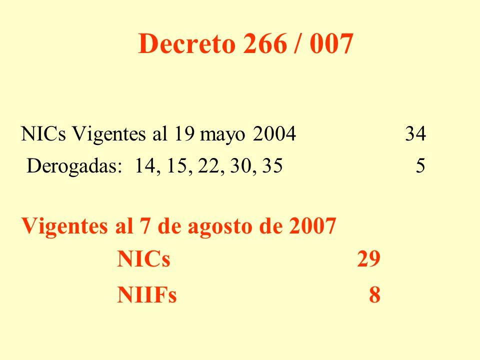 Decreto 266 / 007 NICs Vigentes al 19 mayo 200434 Derogadas: 14, 15, 22, 30, 35 5 Vigentes al 7 de agosto de 2007 NICs29 NIIFs 8