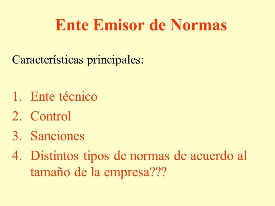 Ente Emisor de Normas Características principales: 1.Ente técnico 2.Control 3.Sanciones 4.Distintos tipos de normas de acuerdo al tamaño de la empresa???