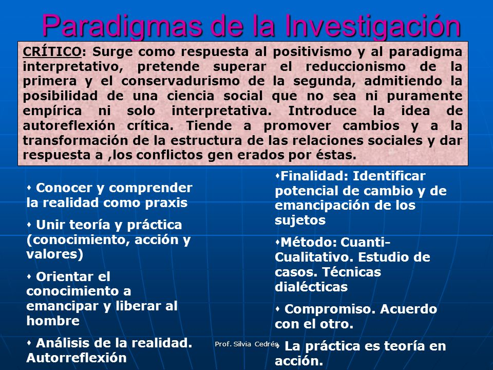 Paradigmas de la Investigación CRÍTICO: Surge como respuesta al positivismo y al paradigma interpretativo, pretende superar el reduccionismo de la pri
