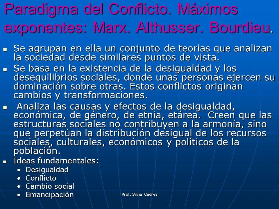 Paradigma del Conflicto. Máximos exponentes: Marx. Althusser. Bourdieu. Se agrupan en ella un conjunto de teorías que analizan la sociedad desde simil