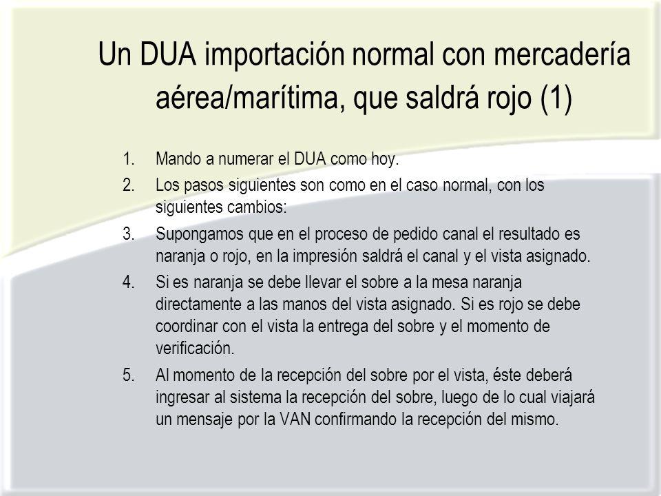 Un DUA importación normal con mercadería aérea/marítima, que saldrá rojo (1) 1.Mando a numerar el DUA como hoy.