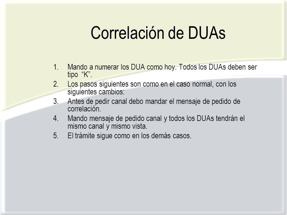 Correlación de DUAs 1.Mando a numerar los DUA como hoy.