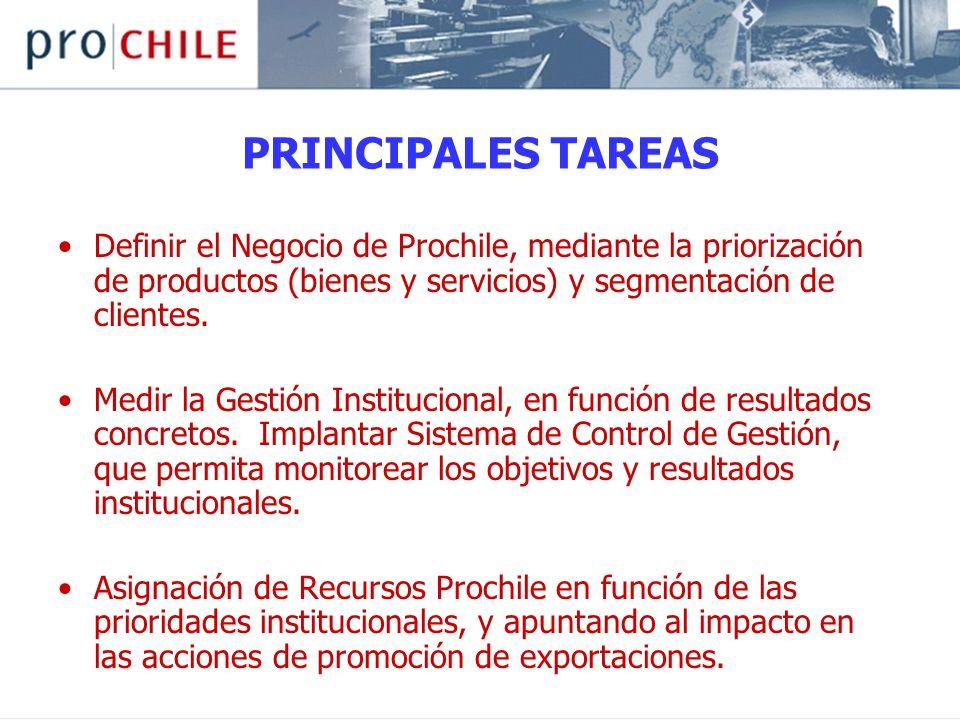 PRINCIPALES TAREAS Definir el Negocio de Prochile, mediante la priorización de productos (bienes y servicios) y segmentación de clientes.