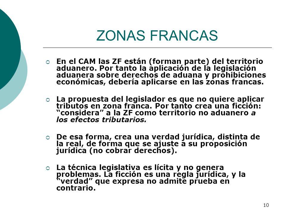 10 ZONAS FRANCAS En el CAM las ZF están (forman parte) del territorio aduanero. Por tanto la aplicación de la legislación aduanera sobre derechos de a