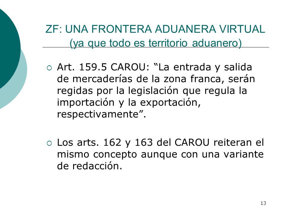 13 ZF: UNA FRONTERA ADUANERA VIRTUAL (ya que todo es territorio aduanero) Art. 159.5 CAROU: La entrada y salida de mercaderías de la zona franca, será