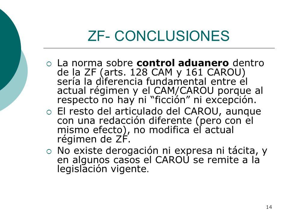 14 ZF- CONCLUSIONES La norma sobre control aduanero dentro de la ZF (arts. 128 CAM y 161 CAROU) sería la diferencia fundamental entre el actual régime