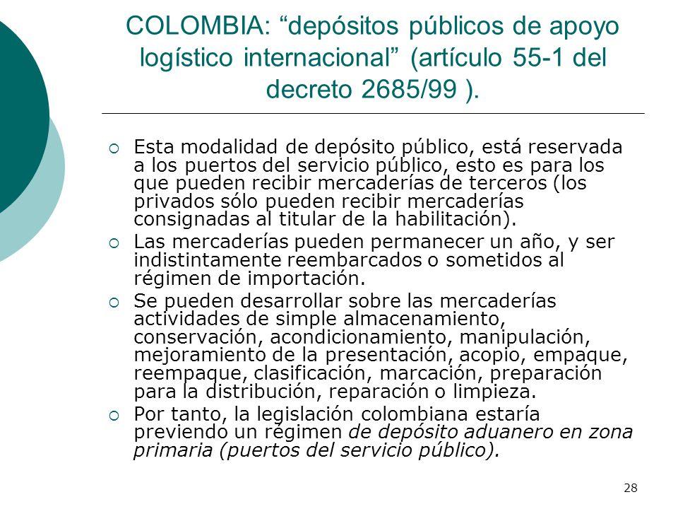 28 COLOMBIA: depósitos públicos de apoyo logístico internacional (artículo 55-1 del decreto 2685/99 ). Esta modalidad de depósito público, está reserv