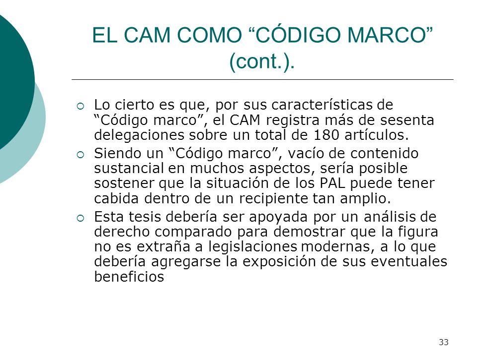 33 EL CAM COMO CÓDIGO MARCO (cont.). Lo cierto es que, por sus características de Código marco, el CAM registra más de sesenta delegaciones sobre un t