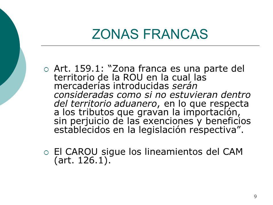 9 ZONAS FRANCAS Art. 159.1: Zona franca es una parte del territorio de la ROU en la cual las mercaderías introducidas serán consideradas como si no es