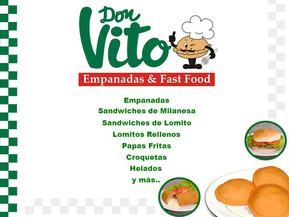 Empanadas Sandwiches de Milanesa Sandwiches de Lomito Lomitos Rellenos Papas Fritas Croquetas Helados y más..
