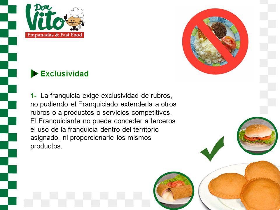 Exclusividad 1- La franquicia exige exclusividad de rubros, no pudiendo el Franquiciado extenderla a otros rubros o a productos o servicios competitivos.