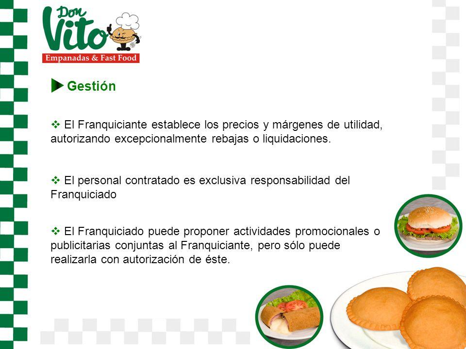 Gestión El Franquiciante establece los precios y márgenes de utilidad, autorizando excepcionalmente rebajas o liquidaciones.